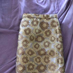 Jcrew gold jacquard print skirt size 4